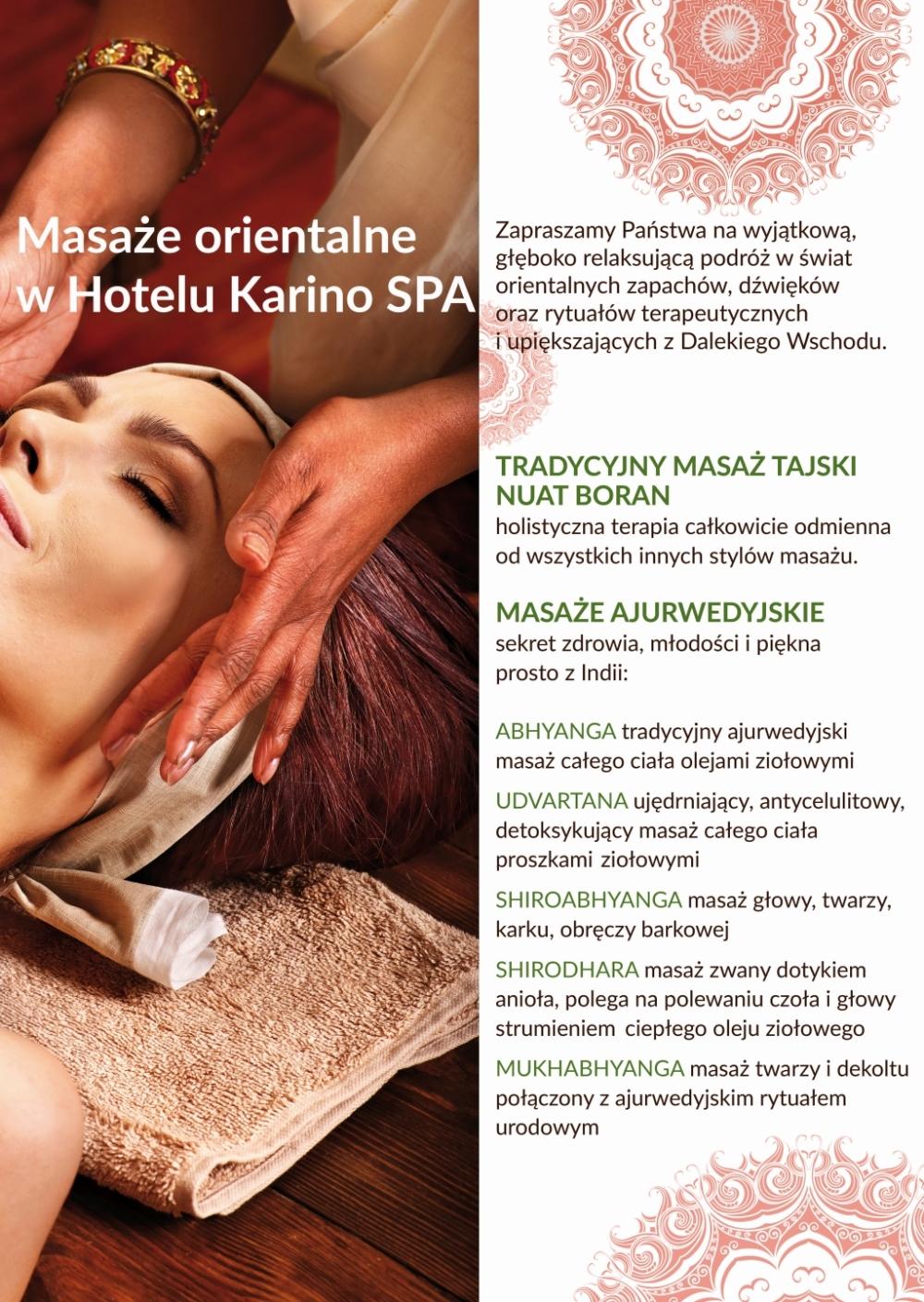 Masaże ajurwedyjskie i masaż tajski hotel Karino SPA